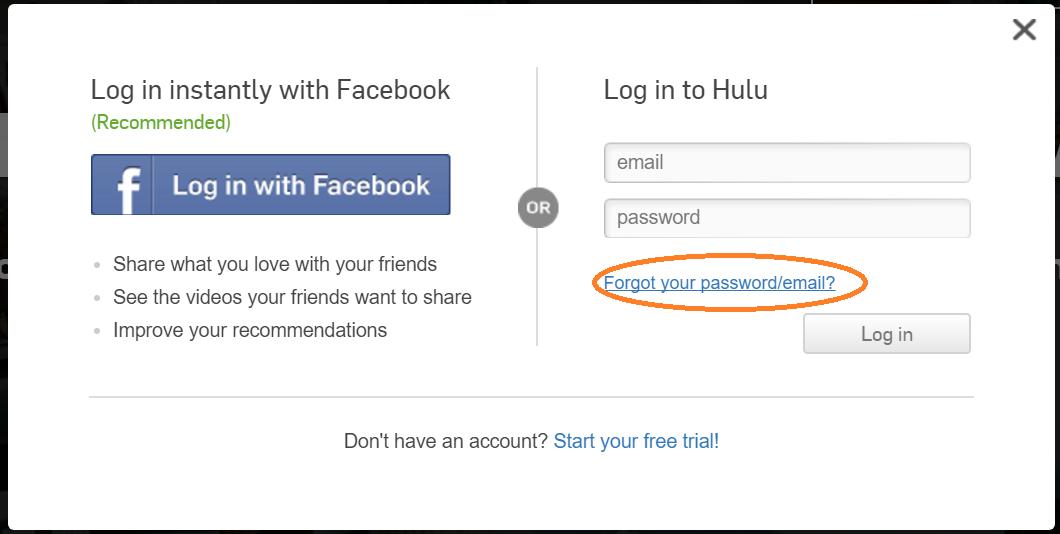 hulu forgot password