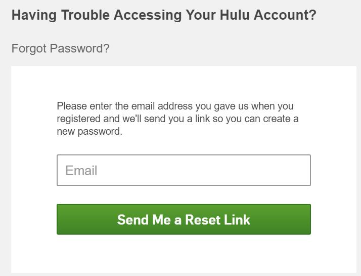 hulu reset password