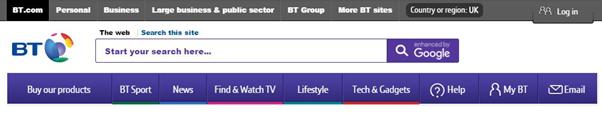 BT.com homepage