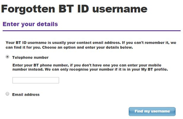 BT mail login username recover