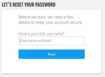aol mail login reset password