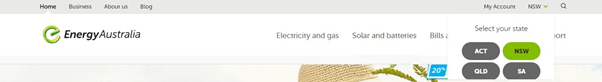 energy australia login select state