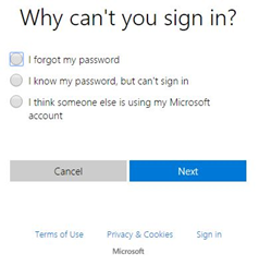 hotmail login password reset