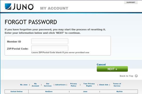 juno email forgot password