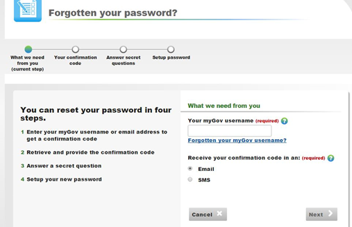 mygov login problem forgot password