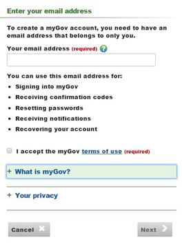 mygov sign up create mygov account
