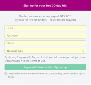 myob free sign up