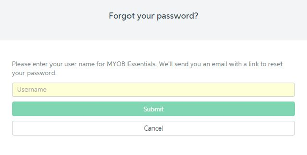 myob login password