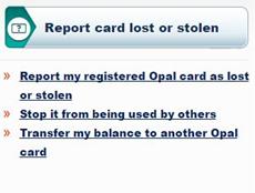 opal card lost stolen report