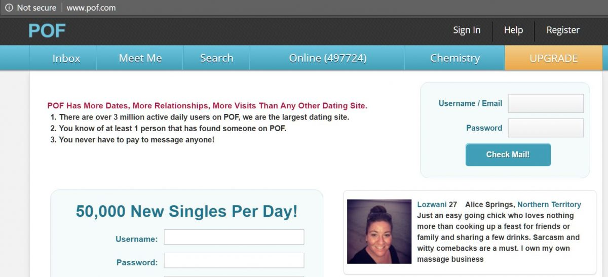 plentyoffish dating site sign