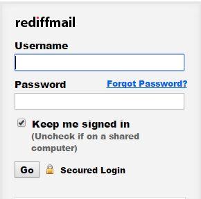 rediffmail login username password