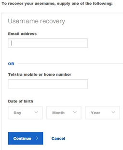 telstra email login recover username