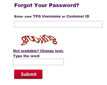 tpg login problems forgot password