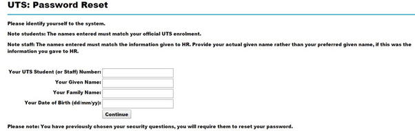 uts insearch login password reset