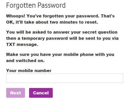 vodafone login problems forgot password