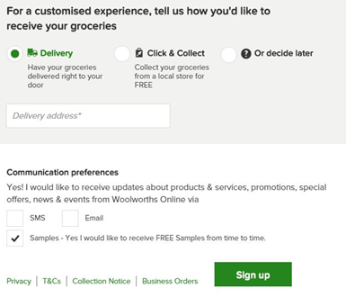 woolworths online sign up