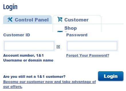 1and1 control panel login