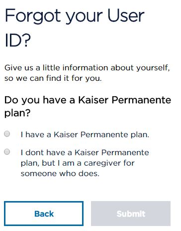 Kaiser Permanente login problem forgot user id