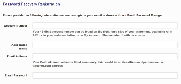 how to change eastlink email password