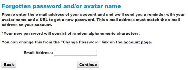 imvu login problem forgot password