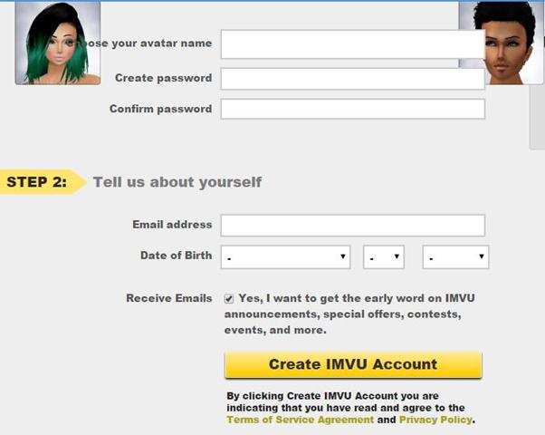 imvu sign up