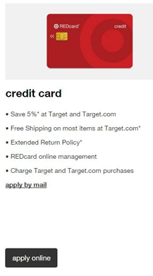 target red card credit card