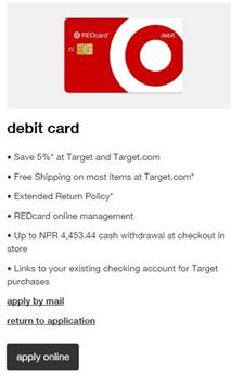 target red card debit card