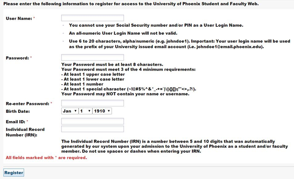 university of phoenix registration