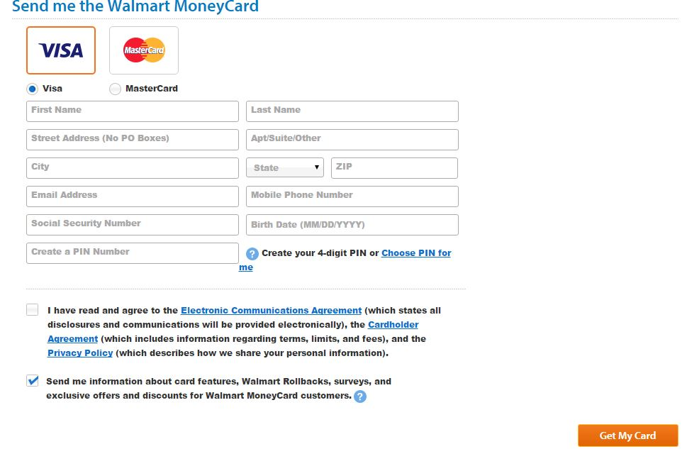 Walmart money card sign up