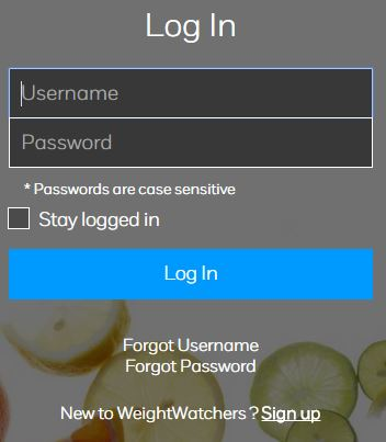 weight watchers login