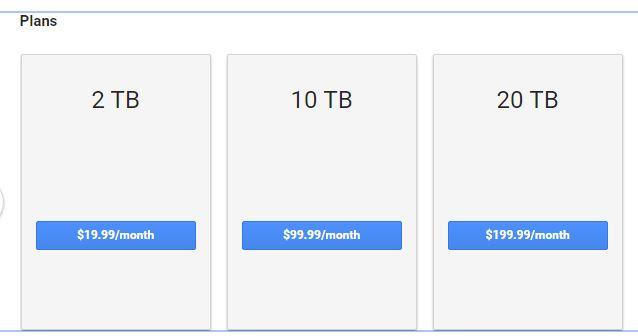 Google Drive Account plan