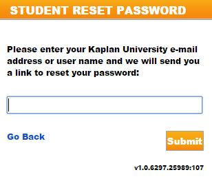 reset Kaplan University Login password
