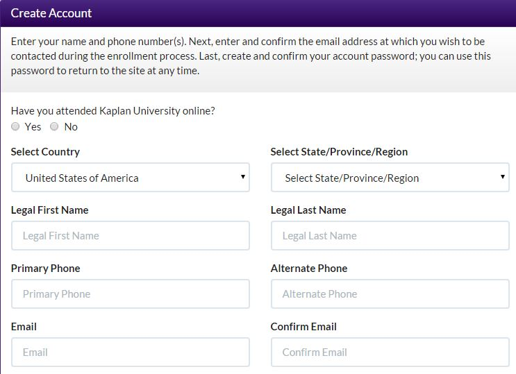 create Kaplan University Login account