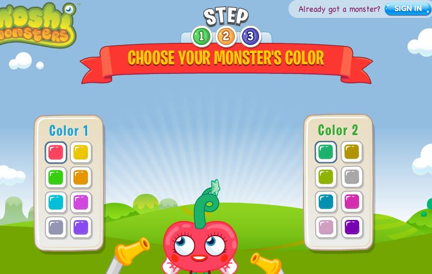 Moshi Monsters login color