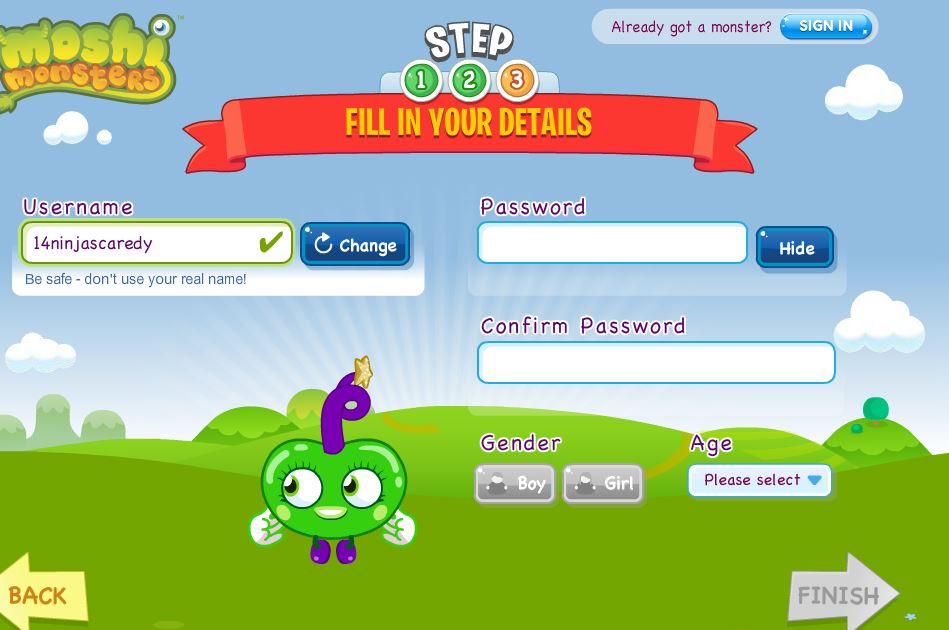 Moshi Monsters login