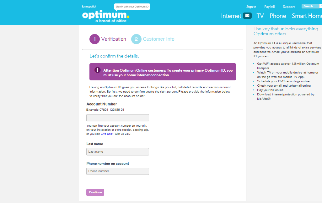 optimum email verification