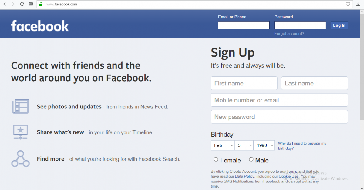 facebook email login