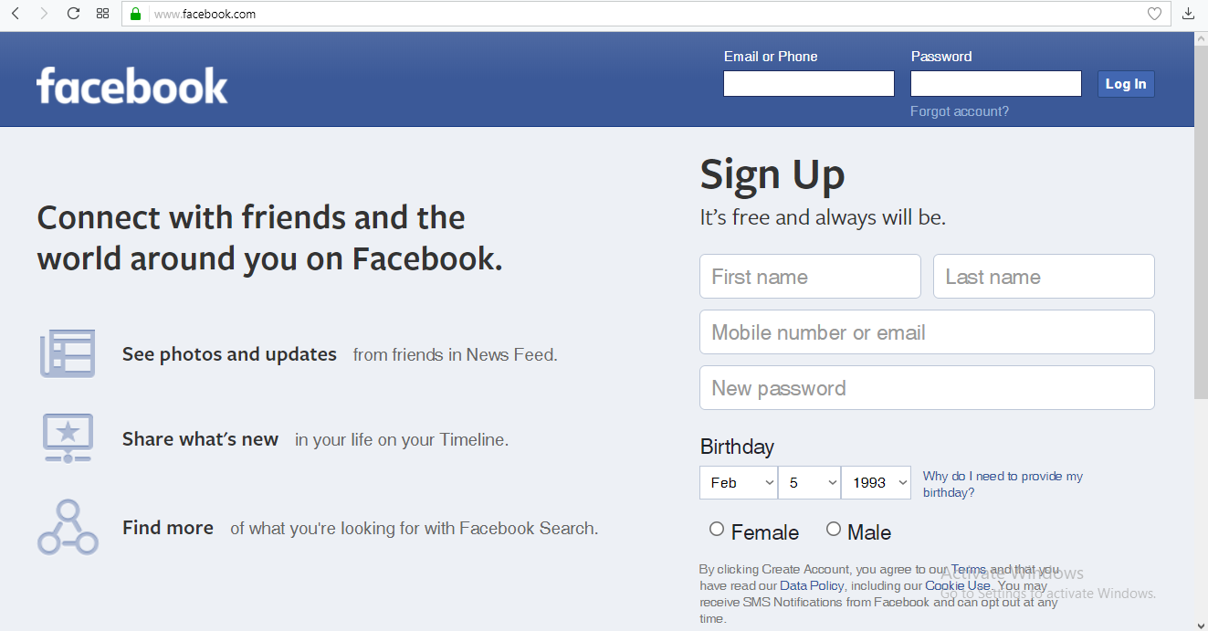 facebook email login signup