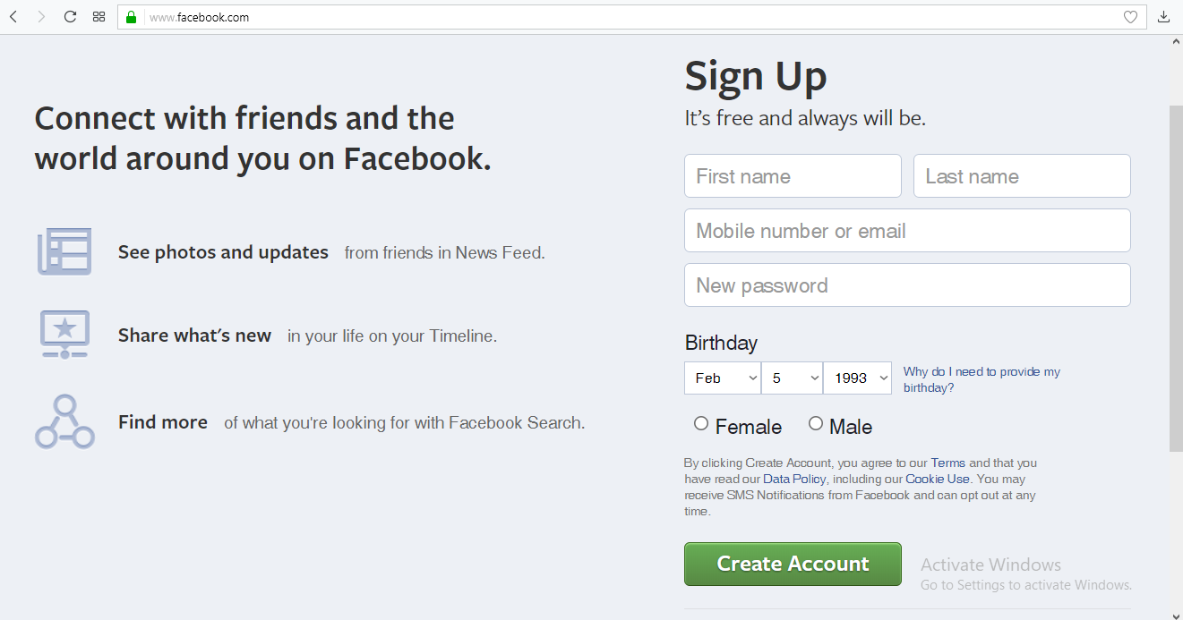 facebook email address sign up